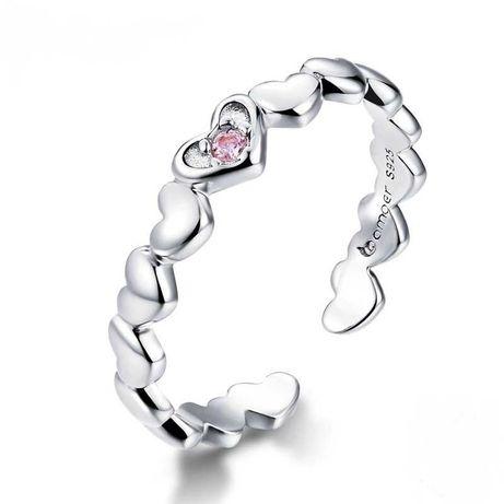 Pierścionek srebrny 925 Serce Serca Miłość 3D prezent do Pandora Apart