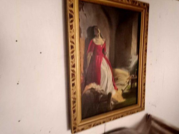 Княжна Тараканова - безумная красавица..Картина-маслом-Старинная.