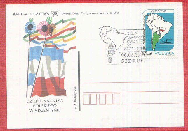Kartka Dzień osadnika Polskiego w Argentynie stempel Sierpc 1997 rok