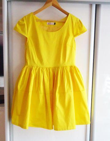 Żółta rozkloszowana sukienka L/40