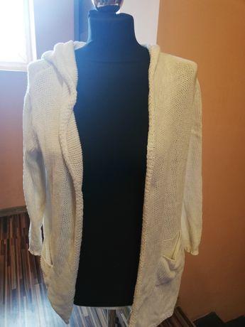 Kardigan narzuta bluza biała ciepła kieszenie S M L XL