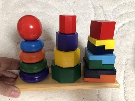 Пирамидка из дерева 3 в 1