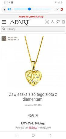 APART złote serce z diamentami NOWE cudna zawieszka wisiorek dz.kobiet