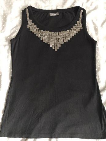 Bluzka czarna damska ze srebrnym zdobieniem