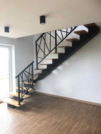 Schody metalowe, schody z wangi, schody metalowe z drewnianymi trepami