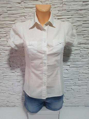 Koszula Biała do Pracy Elegancka krótki rękaw rozmiar 34 ( XS )