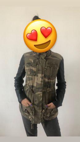 Куртка парка с кожаными рукавами