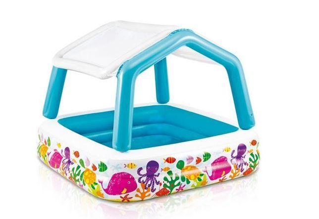 Детский надувной бассейн басейн со съемным навесом аквариум INTEX