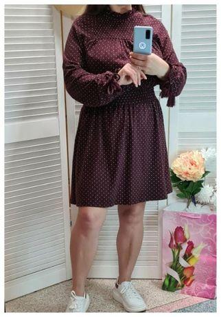 Натуральное короткое платье в горох Topshop, р. М