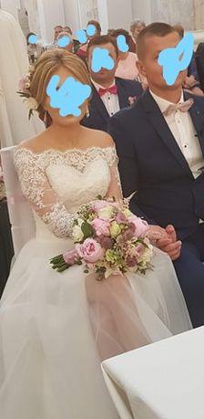 Suknia ślubna ivory/śmietanka 34 xs koronka, tiul z rozporkiem