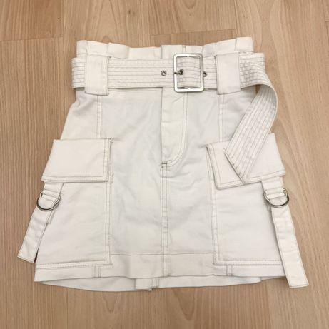 Джинсовая белая юбка стрейч Bershka на девочку подростка