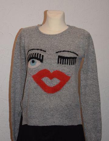 RESERVED ciekawy sweterek szary oczy, usta, wełna M-L
