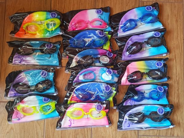 Набор для плавания детский шапочка радуга и очки от 3 до 10 лет