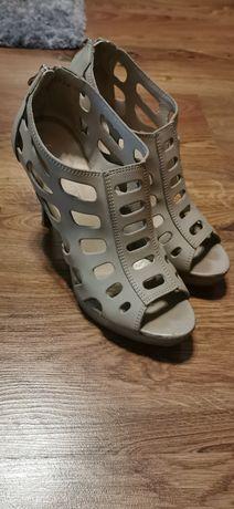 Sandały szpilki szaro beżowe obcas 12cm, rozmiar 40