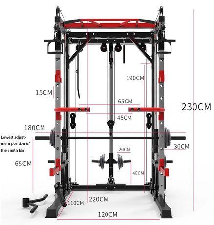 Maszyna Smitha suwnica - wyciąg, klatka, rack, drążek - marzec 2021