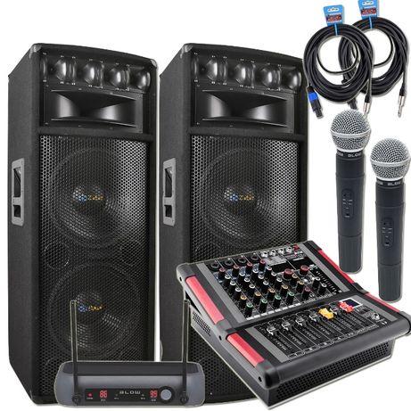 Zestaw Estradowy Kolumny PowerMikser Mikrofony moc 1600W