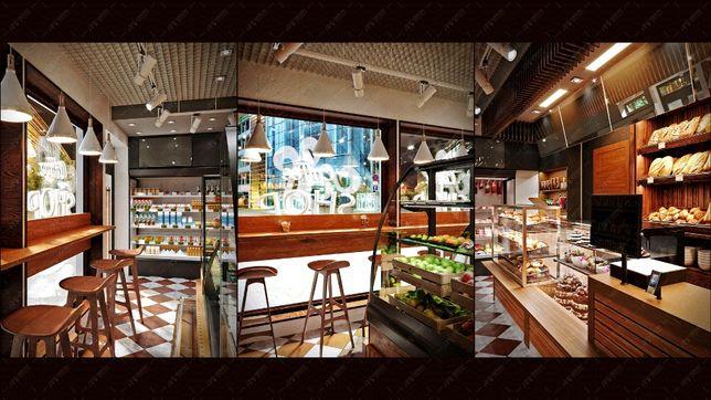 3D дизайн интерьера, моделирование, визуализация кафе отеля ресторана