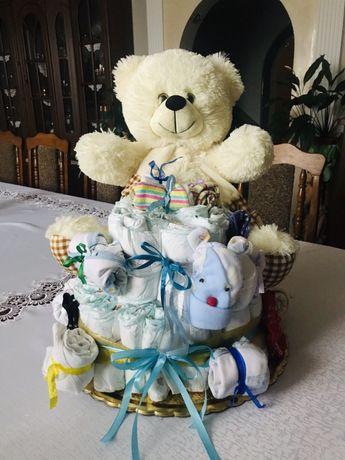 Торт з памперсів, подарунок на хрестини, подарунок на день народження