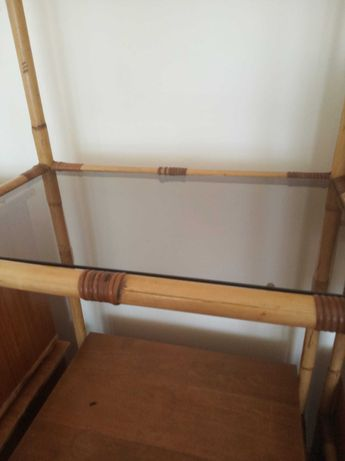 2 Estantes de bambu com gavetas e prateleiras