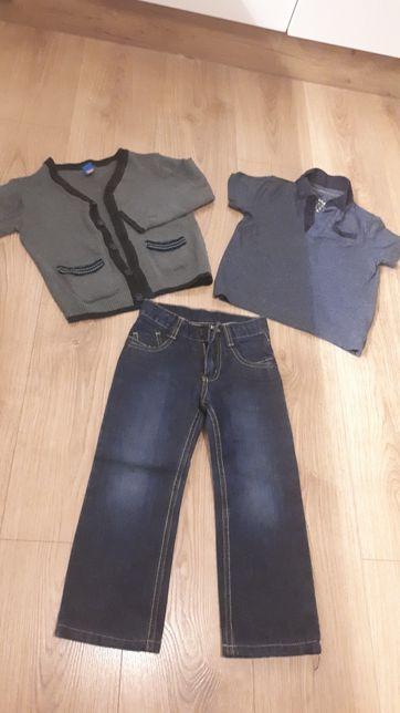 Zestaw 104 spodnie, koszulka, sweter