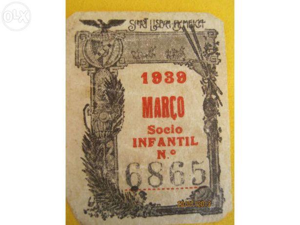 Benfica selo de cota de sócio infantil 1939