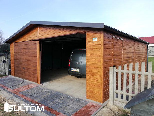 Garaż blaszany imitacja drewna blaszak 7x5 mocna konstrukcja z PROFILI