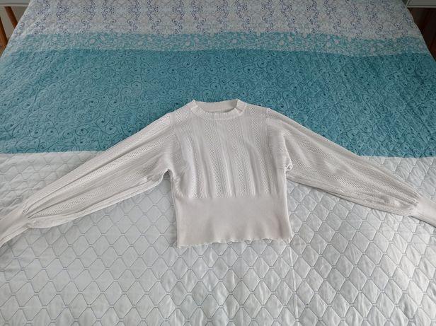Sweter biały,szeroki rękaw