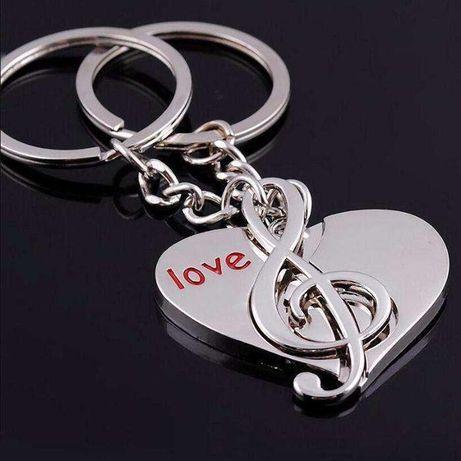 2X Porta-chaves pendentes coração musica clave de sol casal amor