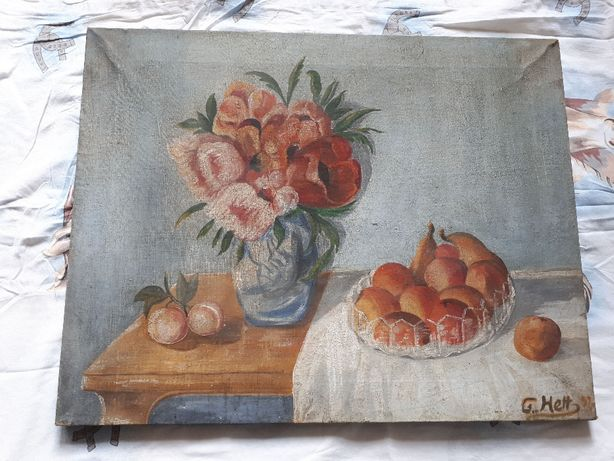 Stary obraz płótno G. Hett 1932 rok martwa natura