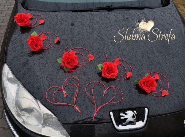 dekoracja samochodu ślubnego, dekoracja na samochód