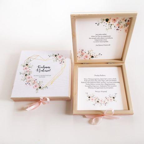 Drewniane zaproszenie na ślub dla rodziców pudrowy róż