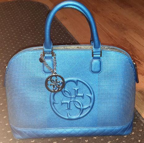 Guess duża torebka jak nowa niebieska