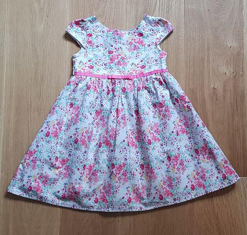 Piękna efektowna sukienka r. 98 Young Dimension biała w kwiaty