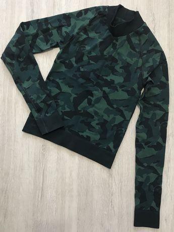 Bluzka sportowa moro s 36 Asos z długim rękawem zielona militarna neon