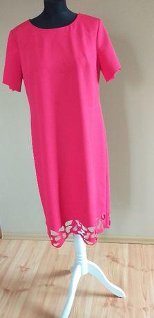 suknia malinowa 44