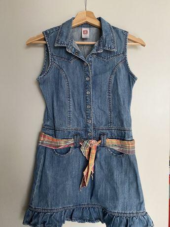Jeansowa sukienka C&A z kieszeniami i paskiem