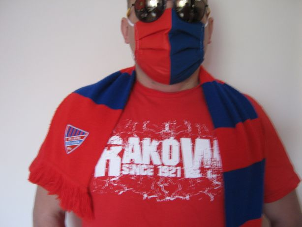 Maska maseczka czerwono niebieska bawełniana kieszonka na filtr RAKÓW