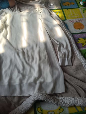 Elegancka bluzka ecri, długa, rozmiar M/ 38