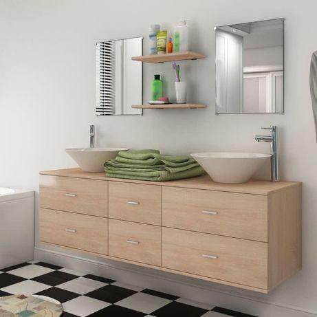 vidaXL Móveis casa de banho 7 pcs e conjunto de lavatório bege 272232