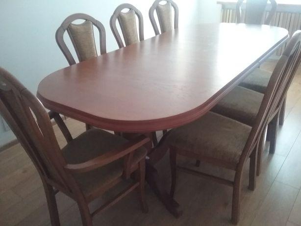Stół dębowy 210/255/300 dł x 100 szer. i 8 krzeseł