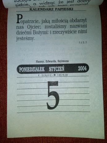 kartka kartki z kalendarza zdzieraka rocznik 2004 metryczka