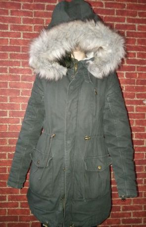 parka khaki kurtka zimowa sztuczne futerko 36