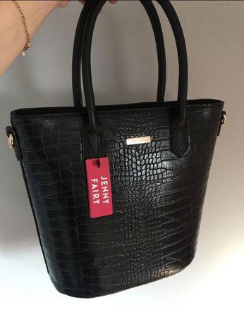 Jenny fayry,чорная сумка ,сумка под «крокодила»