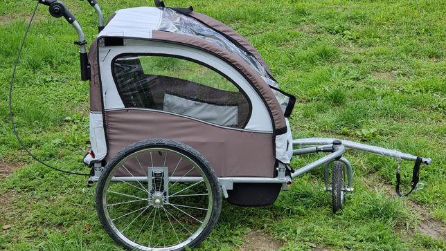 Przyczepka rowerowa dla 2 dzieci ładna z opcją wózka I amortyzacją