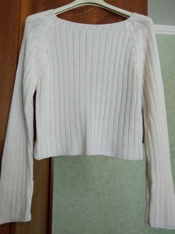 Свитер кофта кардиган пуловер реглан укороченная белая