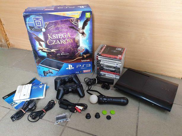 Konsola PS3 Super Slim 500GB + 11 Gier + 2 Pady + Move + Kamerka itd.