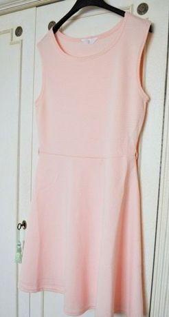 Rozkloszowana sukienka, raz założona M, L, XL różowa pudrowa