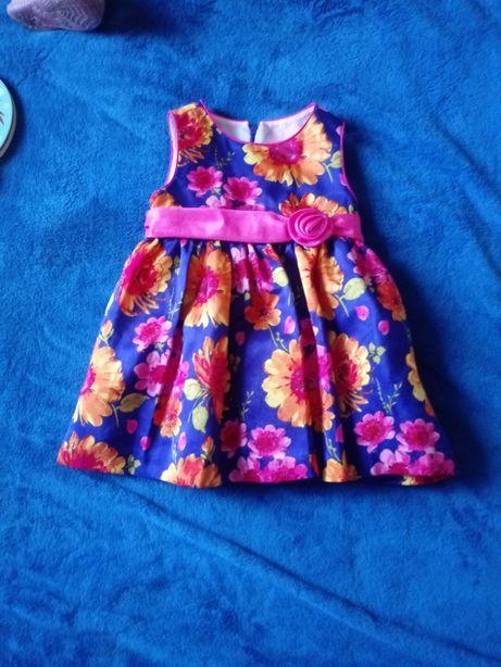 Śliczna sukienka kwiaty rozm.74