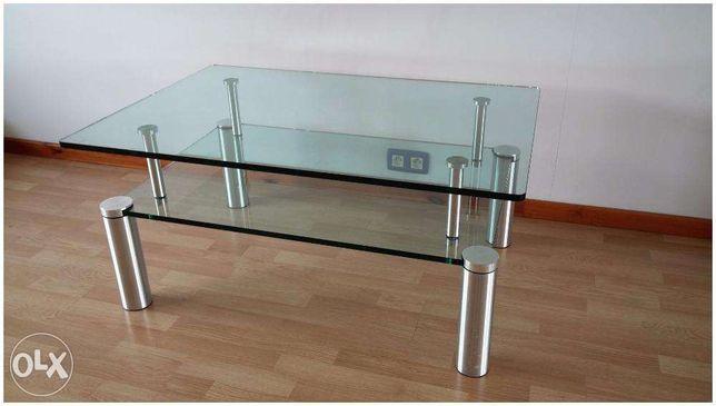 Stolik szklany z półką - bardzo solidny i elegancki