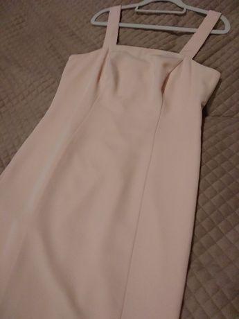 Sukienka długa pudrowy róż suknia maxi XL wesele druhna studniówka bal